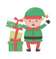 helper with stacked gift boxes decoration merry vector image