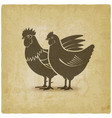 hen and rooster silhouettes vintage background vector image vector image