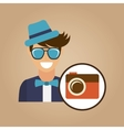 hipster character photographic camera picture icon vector image