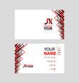 jk logo on red black business card vector image vector image