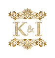 k and i vintage initials logo symbol letters vector image vector image