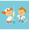 kid play doctor in white robe vector image vector image