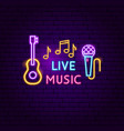 live music neon sign vector image vector image