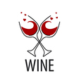 logo glasses of red wine with hearts vector image