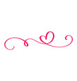 monoline red vintage valentines day hand vector image vector image