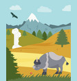 Natural park poster scene with bison mountains