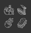 nutritious food chalk icons set vegetables pasta vector image vector image