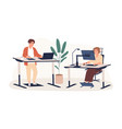 people working at modern ergonomic workplace vector image vector image
