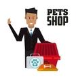 Pet shop with man design vector image