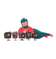 photographer with a lot photo cameras vector image