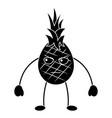 pinapple angry fruit kawaii icon image vector image vector image