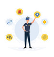 police officer with law enforcement icons vector image