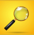 realistic golden magnifying glass on a yellow vector image