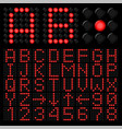 red digital alphabetic and numeric characters on vector image