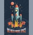 rocket start on planet mars vector image vector image