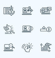 seo icons line style set with keyword ranking vector image vector image