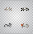 set of bike realistic symbols with exercise riding vector image