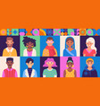 set of diverse community with various male vector image