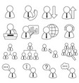 set of icons in line style team communication vector image