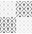 set seamless patterns with skull and bones vector image vector image