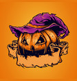spooky pumpkin face halloween with ribbon vector image