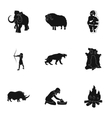Stone age set icons in black style Big collection vector image vector image