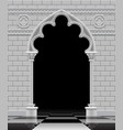stone gothic arch and wall in black and white vector image