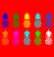 summer pineapple fruit with vivid fashion colors vector image