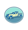 tipper pick-up truck oval woodcut vector image vector image