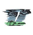 tornado swirl hand drawn icon vector image