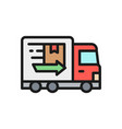 truck fast delivery flat color icon vector image