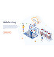 web hosting concept with character big data flow vector image vector image