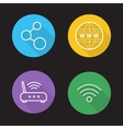Wifi flat linear icons set vector image