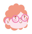 woman with glasses face cartoon character isolated vector image
