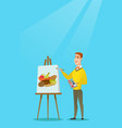 young caucasian artist drawing a still life vector image vector image