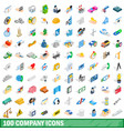 100 company icons set isometric 3d style vector image vector image
