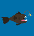 angler fish cartoon icon vector image vector image