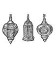 arabic lantern lamps with arab ornaments sketch vector image