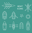 boat icons outline set vector image vector image