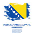 bosnia and herzegovina flag with brush strokes vector image vector image