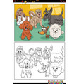 cartoon purebred dogs characters coloring book vector image
