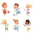 children outdoors in action sports activity vector image vector image