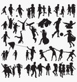 children playing outside silhouettes vector image vector image