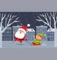 christmas festive santa and elf in city vector image vector image