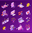 crm system isometric icons vector image vector image