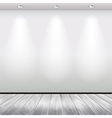Empty interior with white wall and lights vector image