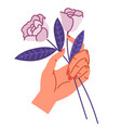female hand holding two roses bouquet composition vector image vector image