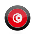 flag of tunisia shiny black round button vector image vector image