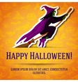 Happy halloween greeting card with witch on broom vector image vector image