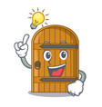 have an idea vintage wooden door on mascot cartoon vector image